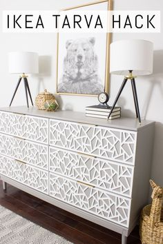 Check out this IKEA TARVA dresser hack! This tutorial shares the step by step pr. - Ikea DIY - The best IKEA hacks all in one place Hack Commode Ikea, Ikea Dresser Makeover, Ikea Tarva Dresser, Dresser Ideas, Dresser Makeovers, Ikea Drawers, Ikea Furniture Makeover, Dresser Drawers, Dresser Top Decor