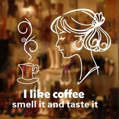 I love coffee restaurant milk tea shop wall stickers wallpaper dessert shop bar wallpaper murals decorative glass window