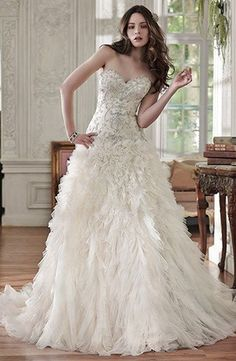 Sweetheart A-Line Wedding Dress  with Dropped Waist in Tulle. Bridal Gown Style Number:33329970