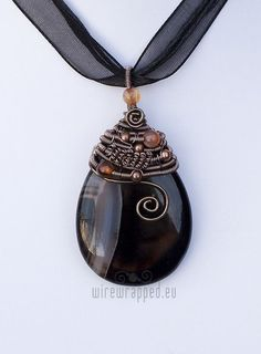 Agate teardrop wire wrapped pendant