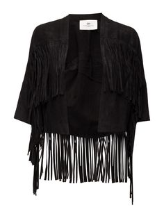 DAY - Day Makkah Lovely and cool leather jacket with fringe details. The DAY Makkah is crafted from soft leather to ensure a comfortable fit. The jacket is edged with tactile fringing and captures a rock 'n' roll yet romantic look. Wear yours with everything from denim to dresses.  Long fringe Open front Goat leather is a soft and supple leather. Cool Made from luxurious materials Romantic Soft Leather, Black Leather, Fringe Leather Jacket, Long Fringes, Romantic Look, Kimono Top, Day, How To Wear, Fashion Design