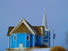 church in Big Valley, Alberta Still Standing, Mosques, Place Of Worship, Alberta Canada, Temples, Blues, Cabin, House Styles, Search