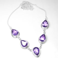 19.77 Grams 925 Sterling Silver Top Necklace Amethyst Fashion Jewelry #Unbranded #Chain