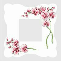 Napkin with orchids Small Cross Stitch, Cross Stitch Rose, Cross Stitch Borders, Cross Stitch Flowers, Counted Cross Stitch Patterns, Cross Stitch Charts, Cross Stitching, Rose Embroidery, Cross Stitch Embroidery