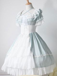 Lolita Wedding Dress OP One Piece Colorful Fairytale Lace Bow Ruffled Cross Front Lolita Dress - Wedding Day Lace Outfit, Dress Outfits, Fashion Dresses, Cute Outfits, Dress Lace, Dress Boots, Emo Outfits, Ruffle Skirt, Dress Red