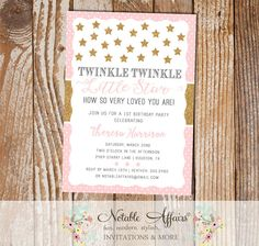 Twinkle Twinkle Little Star Polka Dots Stars Light Pink and Glittery Gold Modern Birthday Party invitation - choose your accent color by NotableAffairs on Etsy https://www.etsy.com/listing/228337405/twinkle-twinkle-little-star-polka-dots