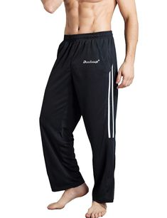 84ad305249 Duuluup Workout Pants Men - Quick Dry Active Sports Sweatpants Open-Hem  with Pockets