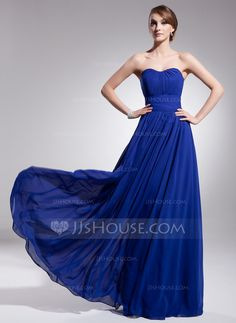 A-Line/Princess Sweetheart Floor-Length Chiffon Evening Dress With Ruffle (017014561)