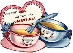 Vintage cartoon teacups