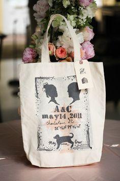Silkscreened welcome bags ~ Photography by charlotteelizabethphoto.com