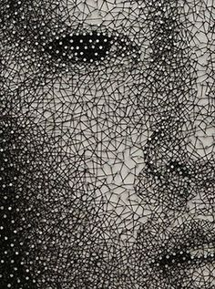 portraits made with one unbroken thread-Japanese artist Kumi Yamashita