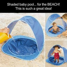 Designed for children under 3 years of age. At the bottom of the mini pool can allow baby play in the water instead of go to the seaside, parents can have extra time to enjoy the beach trip. Baby Am Strand, Baby Life Hacks, Mom Hacks, Baby Pool, Baby Beach Tent, Baby Gadgets, Baby Necessities, Everything Baby, Baby Needs