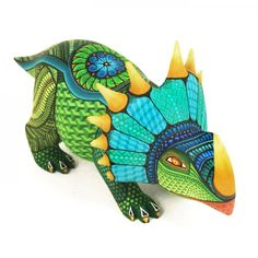 Styracosaurus is one of my longtime faves! Native American Art, Native Art, Prehistoric Creatures, Colorful Animals, Arte Popular, Clay Animals, Mexican Folk Art, Elements Of Art, Aboriginal Art
