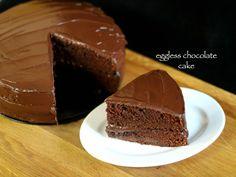 eggless chocolate cake recipe, eggless cake, basic chocolate cake with step by step photo/video recipe. a moist & spongy cake recipe with chocolaty frosting