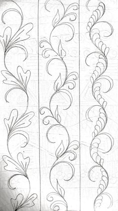LuAnn Kessi: From My Sketch Book…doodle drawing vines to me but quilting designs for LuAnn! LuAnn Kessi: From My Sketch Book…doodle drawing vines to me but quilting desig…Large Metropolitan Sketch Drawing Pattern Machine Quilting Patterns, Longarm Quilting, Free Motion Quilting, Embroidery Patterns, Quilt Patterns, Quilting Ideas, Geometric Embroidery, Quilting Stencils, Art Quilting