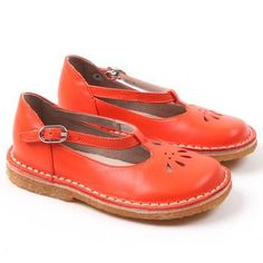 Red baby t-strap shoes