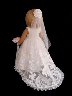 "American Girl 18"" Doll Traditional White Wedding Gown,Dress by SewSoNancy Boutique. Inspiration."