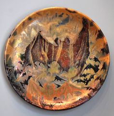 Lucien Lévy-Dhurmer ceramic plate with bats, c. 1900, manufactured by Clément Massier, France.  |  VMFA