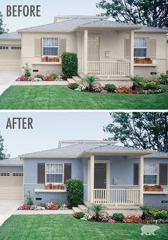 We love this before and after exterior transformation. Add visual interest to your home by accenting with BEHR 2016 Color Trends paint in Stratus and Night Club on the door and shutters. This stunning combination has a calming feel—while still being inviting.