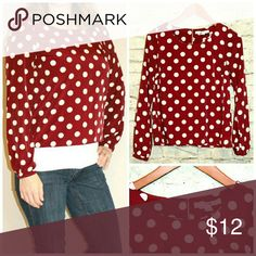 """XX1 Forever 21 Dark Pink Polka Dot Long Sleeve Top Long Sleeve Poly Blend Junior Size. Size: S Measurements: Chest: 19"""" 