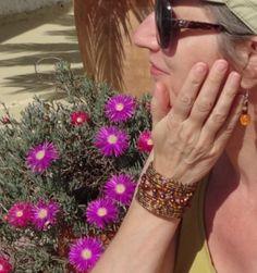 Flexibele Kraaltjes armband Ibiza stijl armband kraaltjes Ibiza KOPER BRUIN PAARS OLIE kleur  - Flexible Beaded bracelet Ibiza fashion style BROWN, BRASS color, PURPLE, OIL  color