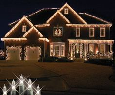 Top 23 Outdoor Christmas Lighting Ideas Illuminate The Holiday Spirit ~ Idees And Solutions Christmas Lights Outside, Christmas House Lights, Hanging Christmas Lights, Christmas Light Displays, Outdoor Christmas Decorations, Holiday Lights, Exterior Christmas Lights, Christmas Chandelier, House Decorations