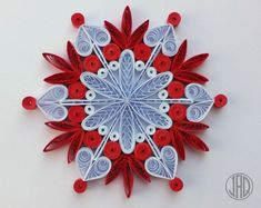 Quilled Snowflake Christmas Decoration Paper Mandala Holiday Festive Gift Present Favor WallArt Ornament Handmade Corporate Rainbow Colors Arte Quilling, Paper Quilling, Origami Paper, Quilling Patterns, Quilling Designs, Quilling Ideas, Paper Decorations, Christmas Decorations, Christmas Tree
