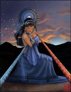 """Coyolxauhqui, cuando su madre Coatlicue estuvo encinta de Huitzilopochtli, ella juntó a sus 400 hermanos, los """"cirujanos"""" para matarla por deshonrar a su extirpe con un advenedizo. Cuando Huitzilopochtli nació, ya adulto y armado la mató y descuartizó. Diosa lunar."""