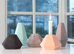 Concrete Geometric Candle Holders by Korridor   THABTO Design Store