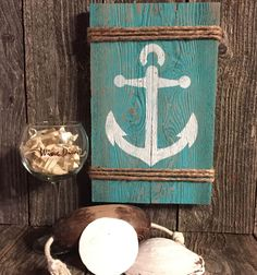 """Rustic ANCHOR sign primitive home decor measures approx 13"""" X 8"""" X 1"""" with saw tooth hanger on back (photo props not included). Hand painted & lightly sanded; no sealers are applied. Most of our signs come in black, white, red, teal or gray. 
