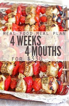 Monthly meal plan on a budget - this real food meal plan is for anyone looking to save money on food. It feeds a family of 4 for $330, includes simple recipes and ideas for breakfast, lunch and dessert. Designed for clean eating whole foods, a great meal plan for eating healthy on a budget! :: DontWastetheCrumbs.com #dessertfoodrecipes