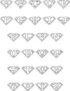 Superman alphabet for the color book book DIY Tattoo diy best tattoo ideas diy best tattoos Alphabet A, Hand Lettering Alphabet, Full Alphabet Fonts, Bubble Letter Fonts, Doodle Alphabet, Calligraphy Fonts Alphabet, Typeface Font, Monogram Alphabet, Handwriting Fonts