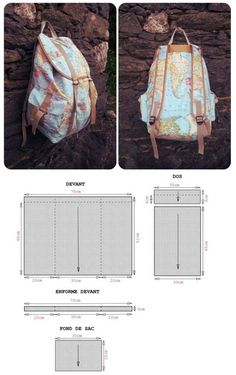 Make your own bag! Here you'll find an simple Back Pack Pattern. I'd love to learn how to make the kind of back pack as shown in the above photos.Wow, Great bag, but hope you can read french! If not, try to copy and paste the…Backpack with sewing p Sewing Hacks, Sewing Tutorials, Sewing Crafts, Sewing Projects, Sewing Patterns, Diy Crafts, Mochila Jeans, Backpack Pattern, Backpack Tutorial