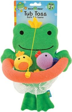 $9.97-$16.90 Baby Frog Tub Toss Game - Duck Tub Toss Game is recommended for ages 2 years and up.  Adorable frog backboard attaches with a suction cup to the tub.  Have fun tossing little critters into the net! http://www.amazon.com/dp/B004356KNY/?tag=pin2baby-20
