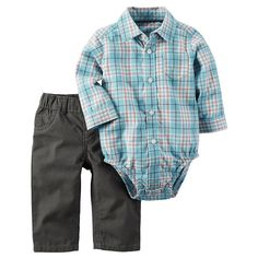 Baby Boy Carter's Plaid Button-Up Bodysuit & Twill Pants Set, Size: Newborn, Med Blue