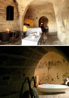 Sextantio, the only hotel in the world located in prehistoric caves in Madera, southern Italy. Dream honeymoon! See more spectacular pics here http://www.sextantio.it/grotte-civita/esplora/