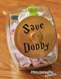 "This ""Save Dobby"" lost sock jar will help you keep your pairs together."
