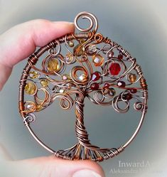 Autumn Tree of Life pendant- wire wrapped copper Tree of Life with yellow/bronze/red leaves, unique artistic jewelry, finesse, gift idea Herbst Baum des Lebens Anhänger Draht gewickelt Kupfer Baum des Lebens Wire Pendant, Wire Wrapped Pendant, Wire Wrapped Jewelry, Beaded Jewelry, Silver Jewelry, Handmade Jewelry, Boho Jewelry, Pendant Necklace, Wire Tree Necklace