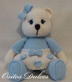 JULIET Dulces crochet a crochet a crochet bear - Knitting Pin Knitted Teddy Bear, Crochet Teddy, Baby Afghan Crochet, Easter Crochet, Crochet Bear, Cute Crochet, Crochet Animals, Crochet Doll Pattern, Crochet Toys Patterns