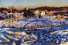 Winter Farm and Rail Fence, New Brunswick, Canada (watercolor on paper) Ken Huxley