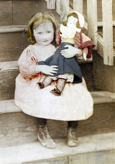 Sweet Little Ringlet Girl HOlds Large Doll on Stairs fine art vintage photo print.