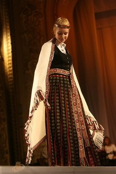 Latvian traditional costume, from Zemgale region. Myself.