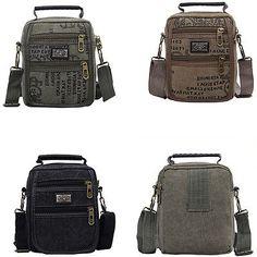 Small Unisex Canvas Hand Bag Phone Pocket Single Shoulder Zipper Rectangular Bag