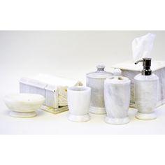 White Marble 7-piece Bathroom Accessory Set
