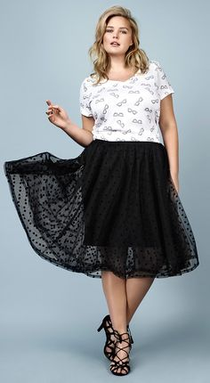 Plus Size Mesh Dot Midi Skirt
