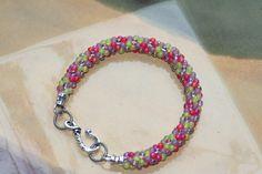Handmade Kumihimo bracelet with Miyuki drop fringe seed beads in purple, lime, rainbow red colors by BeadingLab on Etsy https://www.etsy.com/listing/223955587/handmade-kumihimo-bracelet-with-miyuki
