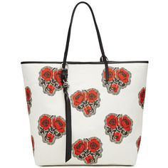 Cotton Shopper with Leather Alexander McQueen (€700) ❤ liked on Polyvore featuring bags, handbags, tote bags, white leather handbags, leather handbags, shopping tote bags, white leather tote and shopping bag