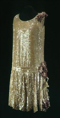 Evening Dress, Jerome: ca. 1925, French, sequin and bead-embroidered lace, chiffon over crepe.