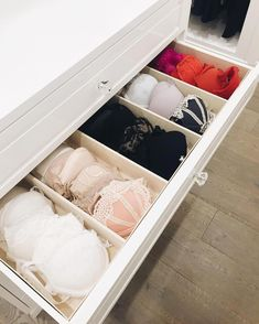 Soft-sided drawer inserts, because your delicates are.✨ in 2020 Bedroom Closet Design, Room Ideas Bedroom, Closet Designs, Room Decor, Dresser Drawer Organization, Wardrobe Organisation, Closet Storage, Bedroom Storage, Ideas Armario