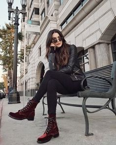 Loving these velvet booties for the holiday season! fall and winter street style Fall Family Photo Outfits, Fall Outfits, Fashion Outfits, Womens Fashion, Fashion Trends, Combat Boot Outfits, Biker Boots Outfit, Military Boots Outfit, Combat Boots Look
